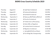 BGMS Cross Country Schedule